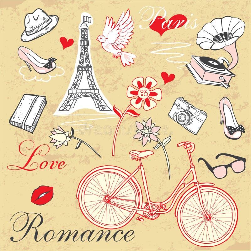 Paryski romansu set royalty ilustracja