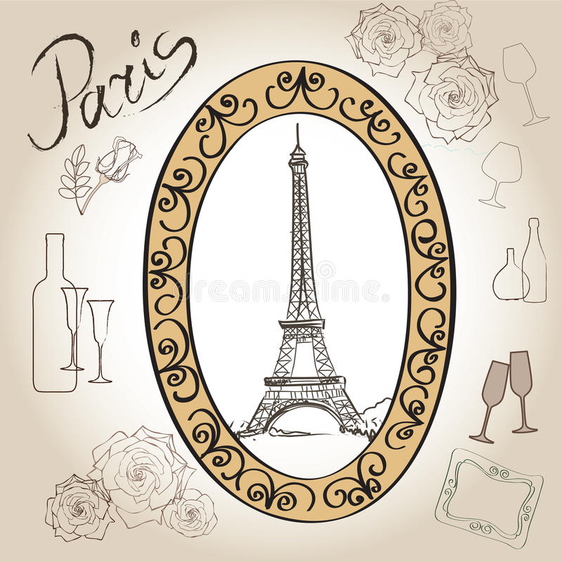 Paryski wieży eifla ilustraci set. Miłości Paris ramy rocznika kolekcja. Francuska kawiarnia royalty ilustracja