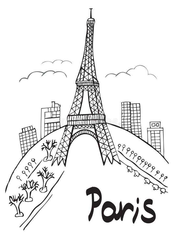 Paryski wieży eifla miasto royalty ilustracja