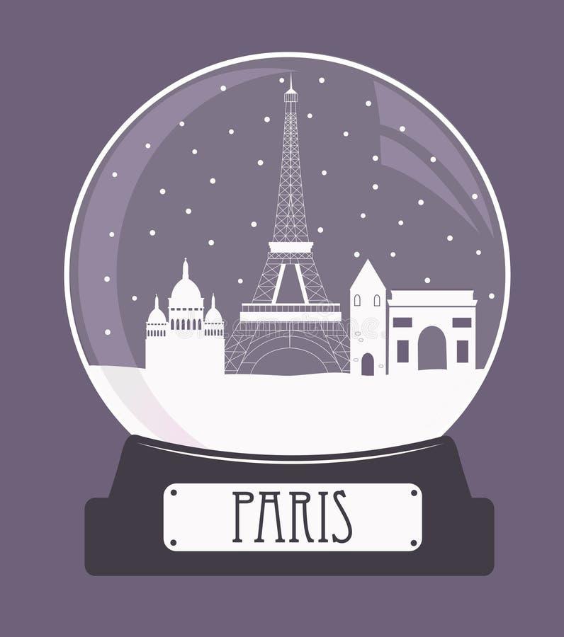 Paryskich bożych narodzeń szklana piłka royalty ilustracja