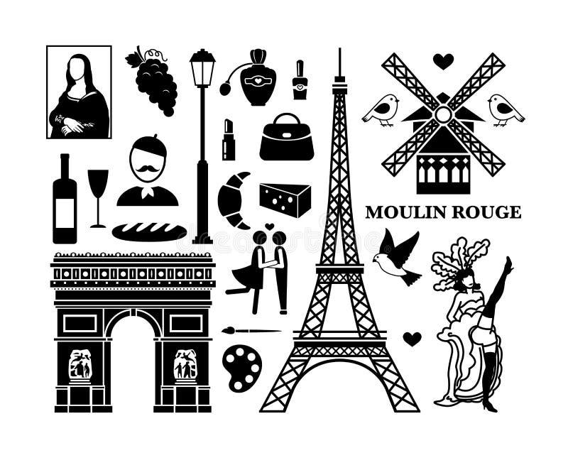 Paryskie ikony ilustracja wektor