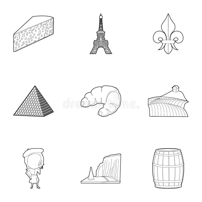 Paryskie ikony ustawiać, konturu styl royalty ilustracja