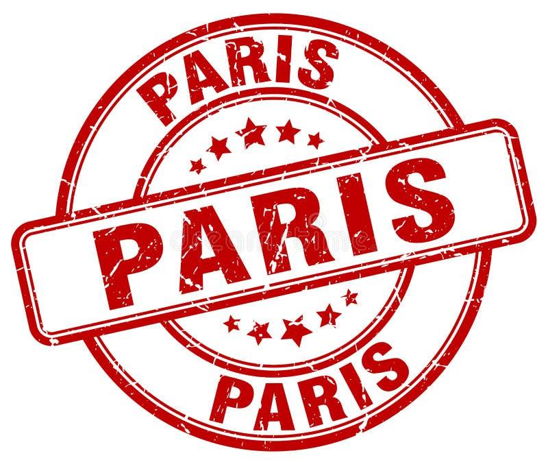 Paryskiego czerwonego grunge round znaczek ilustracji