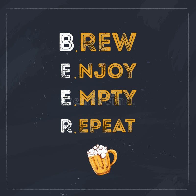 Parzenie Cieszy się Pustej powtórki typografii piwną wycena dla restauraci Kreatywnie sztandaru projekt ilustracja wektor