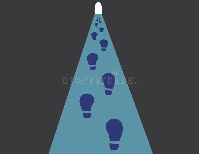 Pas d'une personne sous le tunnel foncé au succès ou à la fin de l'illustration de vecteur de chemin illustration libre de droits