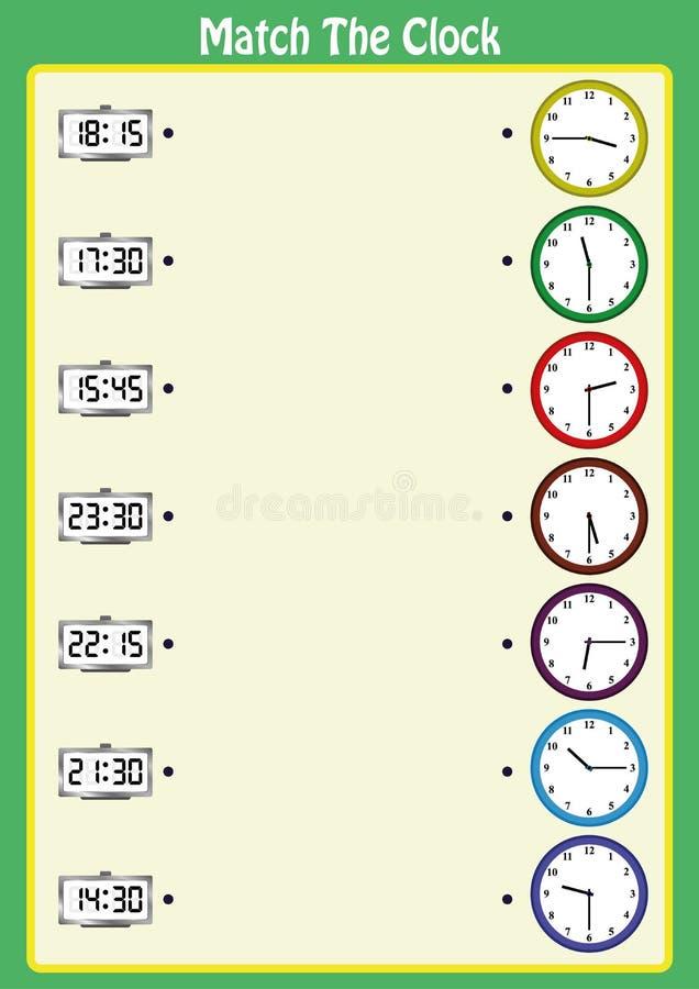 pas de klokken aan, leren de jonge geitjes om analoge klokken met dit passende wiskundespel, aantekenvel te lezen stock illustratie
