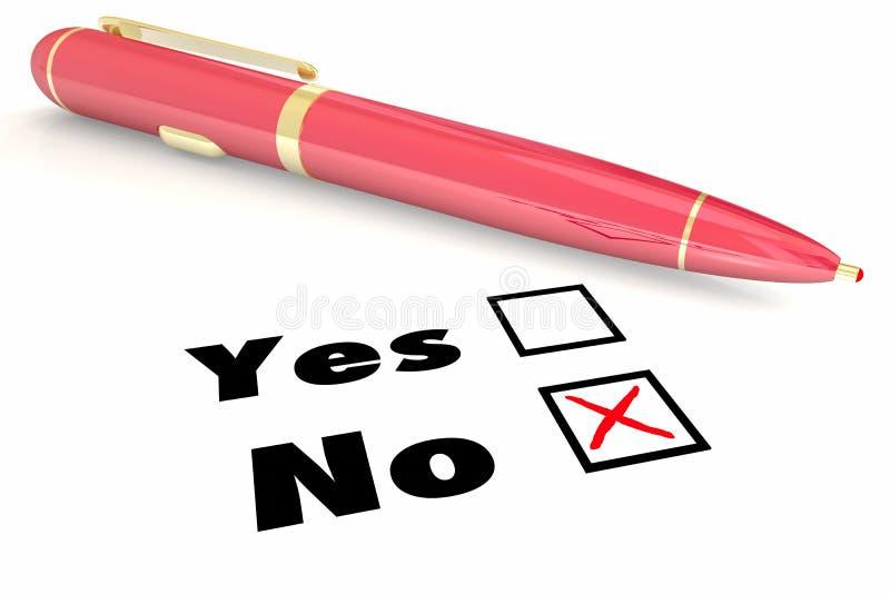 Pas de réponse contre le rejet négatif Pen Check Box de démenti d'oui illustration libre de droits