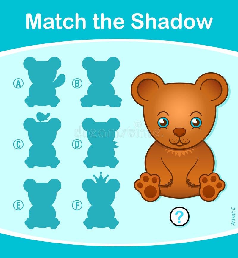 Pas het het raadselspel van Schaduwjonge geitjes met teddybeer aan stock illustratie