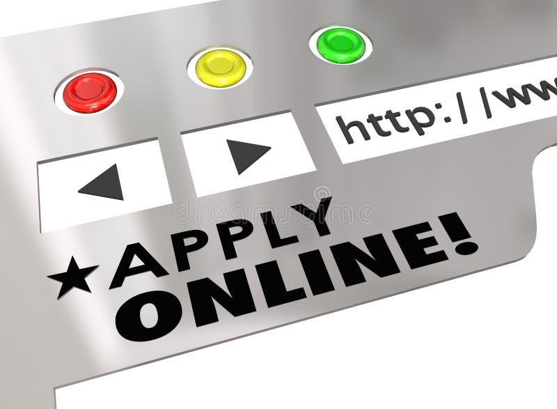 Pas Online Browser van Websiteinternet Aanvraagformulier toe royalty-vrije illustratie
