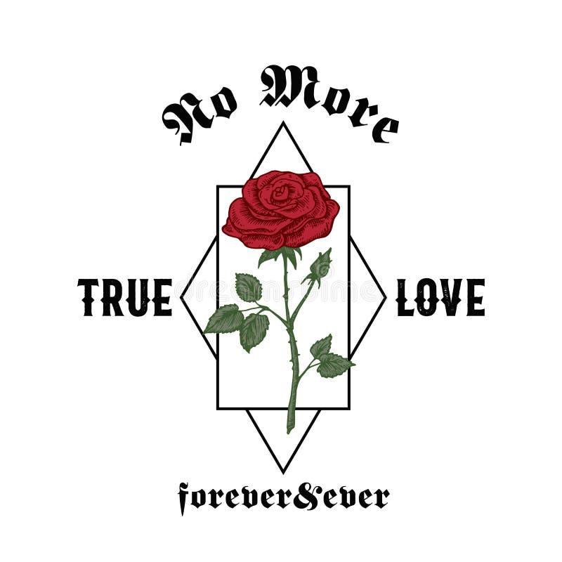 Pas plus d'amour vrai à tout jamais Illustration abstraite d'habillement de vecteur Rose tirée par la main avec la typographie go illustration stock