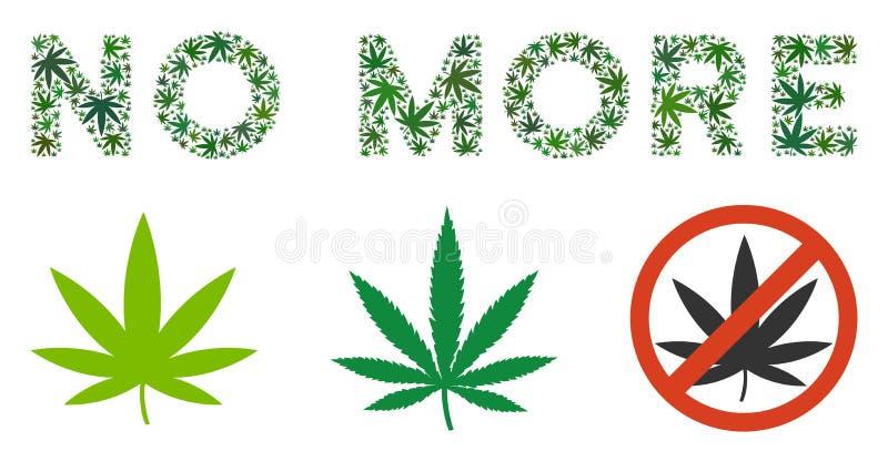 Pas plus de collage des textes de marijuana illustration stock