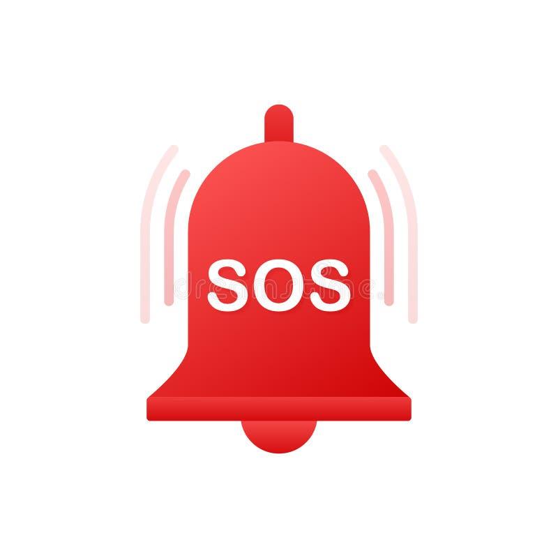 PAS- rote Glocke Alarmglocke und PAS-Beschriftungsikone Auch im corel abgehobenen Betrag stock abbildung