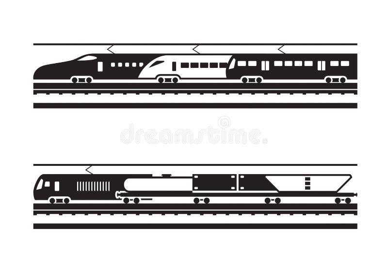 Pasażerski i frachtowy kolejowy transport ilustracji