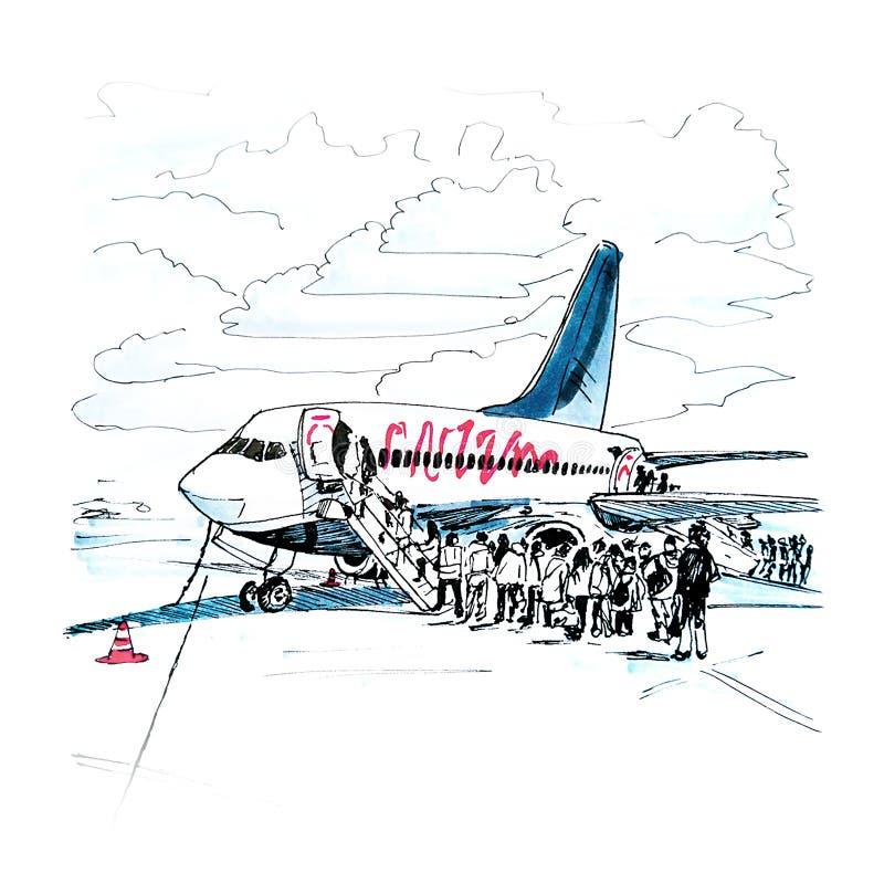 Pasażerski przedział samolot ilustracji