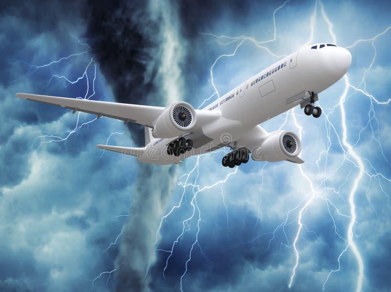 Pasażerski samolotowy wydźwignięcie w niebie ilustracja wektor