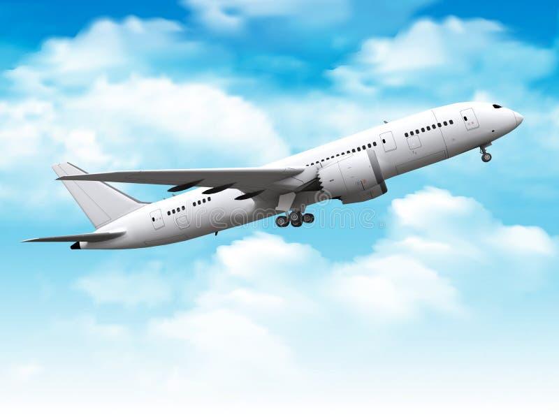 Pasażerski samolotowy wydźwignięcie w niebie ilustracji