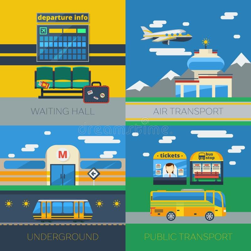 Pasażerski transportu 2x2 projekta pojęcie ilustracja wektor