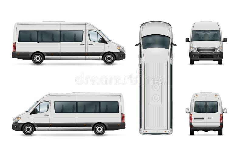 Pasażerskiego samochodu dostawczego szablon ilustracji