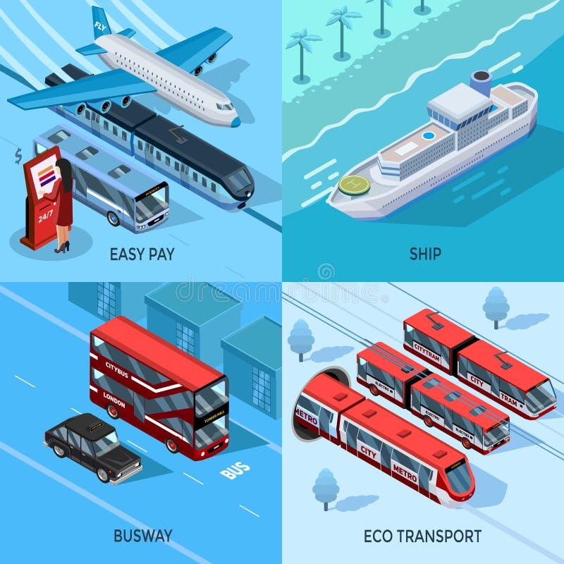 Pasażerskiego transportu 2x2 projekta Isometric pojęcie ilustracja wektor