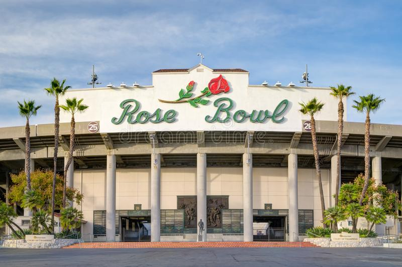 The Rose Bowl Stadium Exterior and Logo. PASADENA, CA/USA - JANUARY 7, 2018: Rose Bowl stadium and logo. The Rose Bowl is a United States outdoor athletic stock images