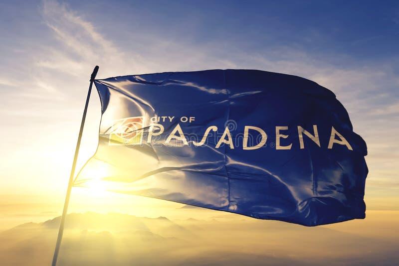 Pasadena of California of United States flag waving on the top. Pasadena of California of United States flag waving royalty free stock images