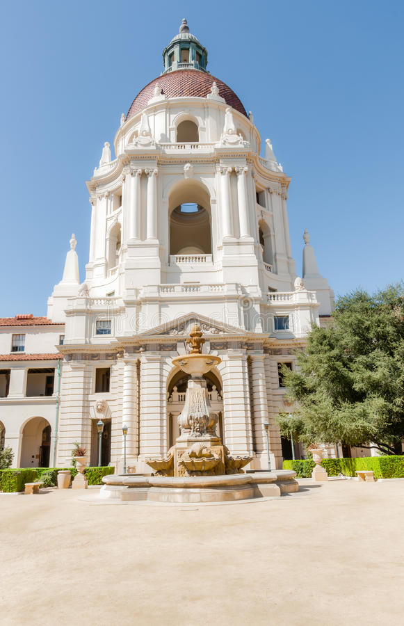 Pasadena City Hall in Mediterranean Revival and Spanish Colonial. Revival Styles courtyard with its fountain and domed main east entrance royalty free stock photos