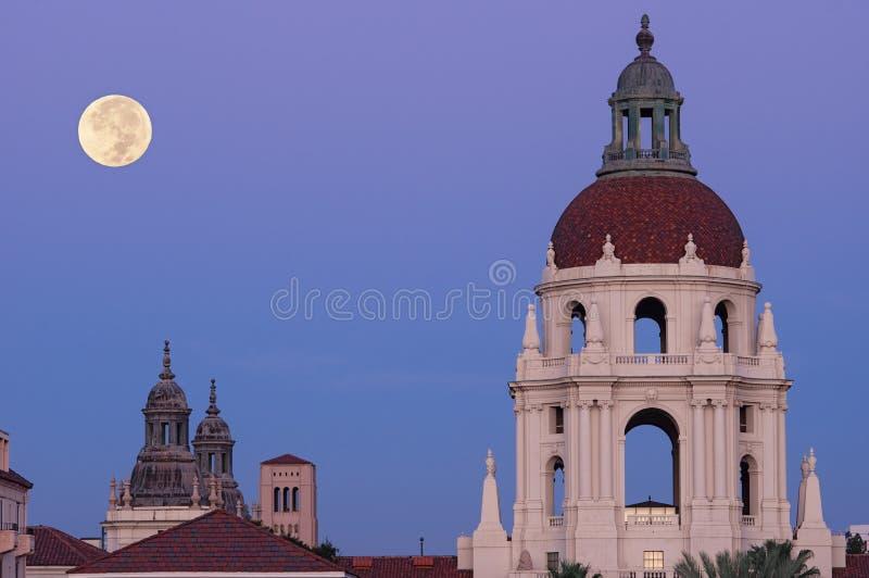 Pasadena City Hall Moon Setting Dawn royalty free stock photo