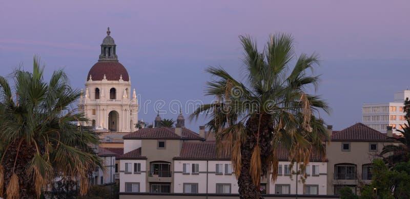 Pasadena City Hall Panoramic Dusk stock photo