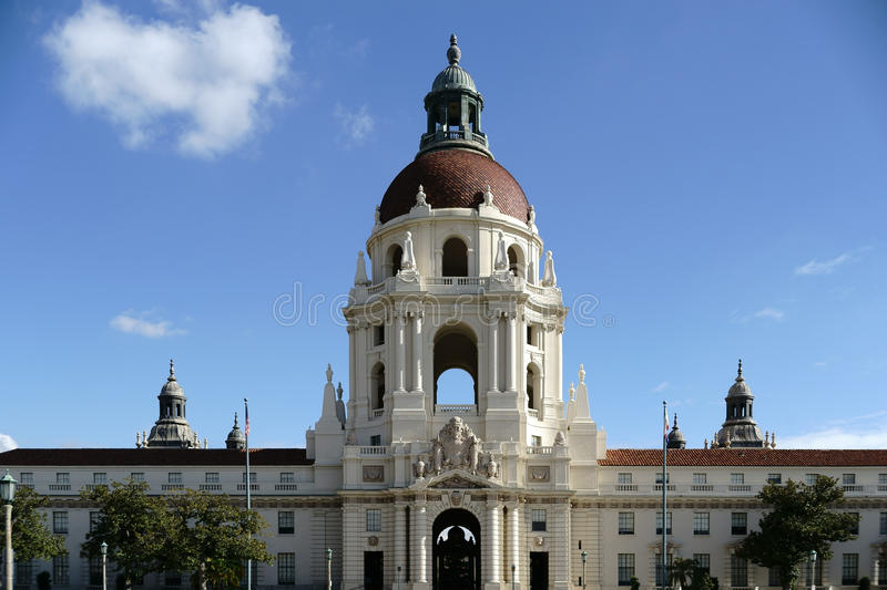Pasadena City Hall. Pasadena, United States - December 27, 2015: The City Hall of Pasadena decorated with ornaments and sculptures above the entrance on December royalty free stock photos