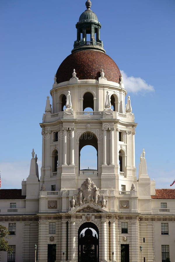 Pasadena City Hall. Pasadena, United States - December 27, 2015: The City Hall of Pasadena decorated with ornaments and sculptures above the entrance on December stock photo