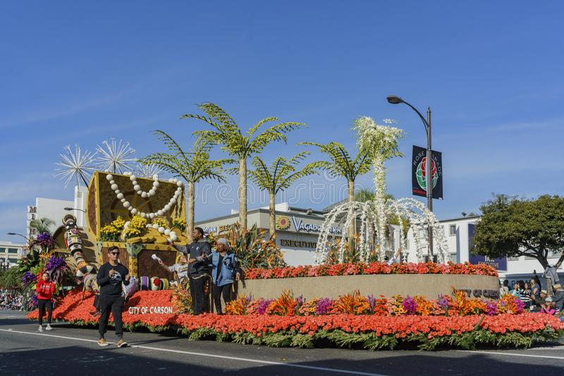 City of Carson's float in the Rose Parade. Pasadena, JAN 1: City of Carson's float in the Rose Parade - America's New Year Celebration on JAN 1, 2017 at Pasadena royalty free stock photo