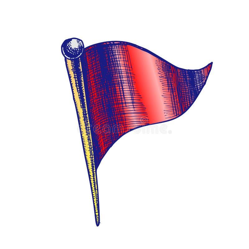 Pasador de los efectos de escritorio del color en vector de la forma de la bandera del triángulo libre illustration