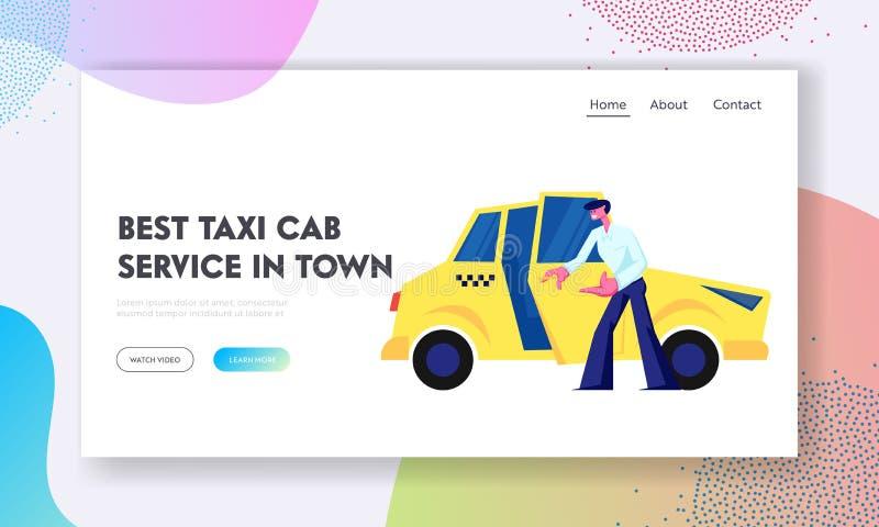 Pasajero de invitación de Open Car Door del Taxi Driver a sentarse Empleo del carácter del Cabbie, trabajo, taxi amarillo en la c ilustración del vector