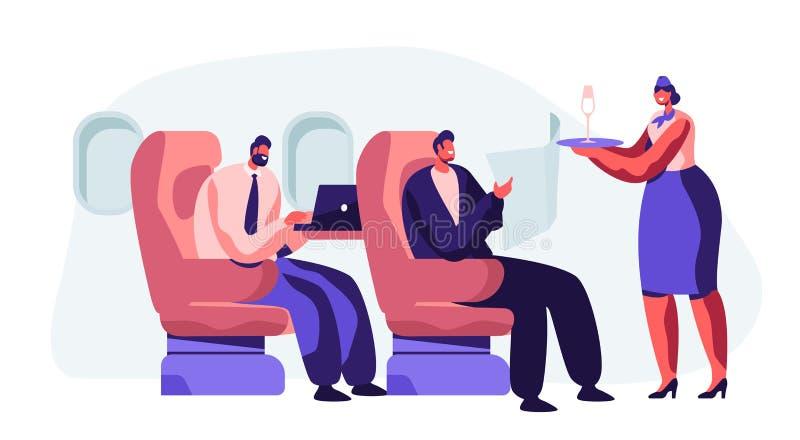 Pasajero de la porci?n del asistente de vuelo en aeroplano Azafata en bandeja que se sostiene uniforme con la bebida que trae de  stock de ilustración
