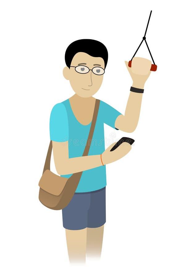 Pasajero feliz del muchacho que viaja en el subterráneo o el autobús, mirando el teléfono ilustración del vector