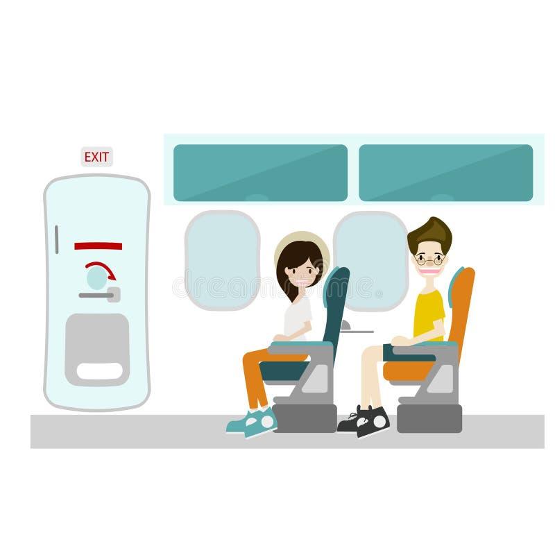 Pasajero que se sienta en la salida del asiento y de emergencia de ventana ilustración del vector