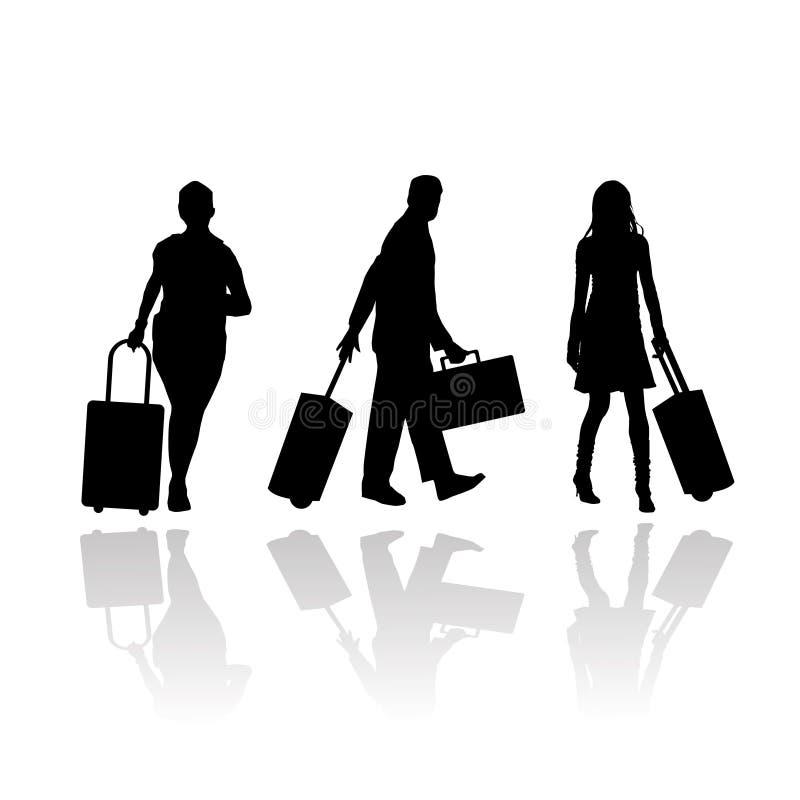 Pasajeros con equipaje y la carretilla stock de ilustración