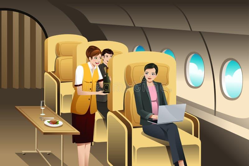 Pasajeros de la primera clase que son servidos por el asistente de vuelo ilustración del vector