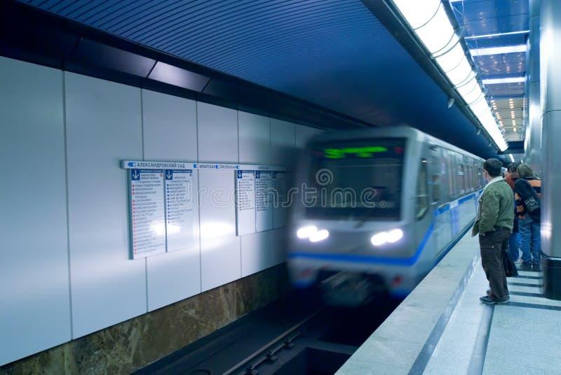 Pasajeros del metro de Moscú imagen de archivo libre de regalías