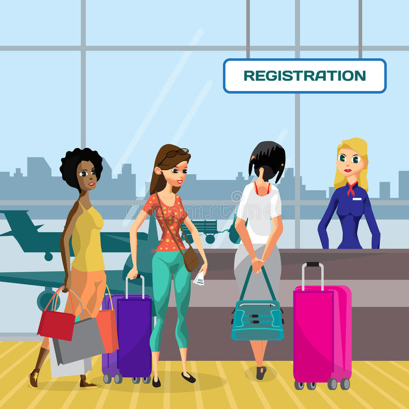 Pasajeros en contadores de enregistramiento de la cola que esperan en el aeropuerto cerca del re stock de ilustración