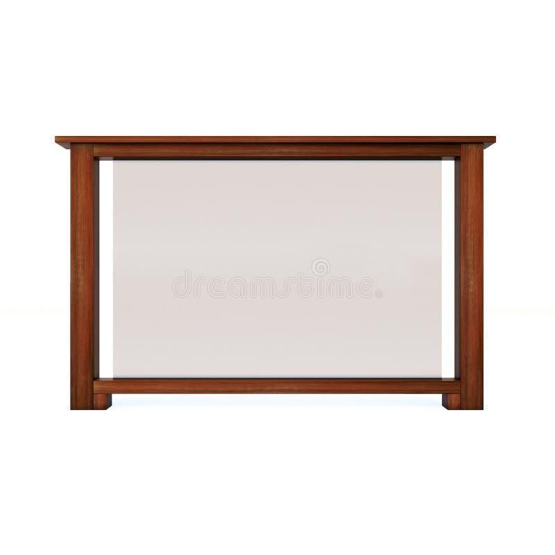 Pasamano de madera con el vidrio fotografía de archivo libre de regalías