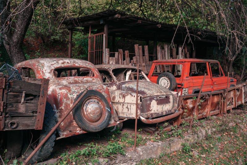 Pasanauri Georgia - 06 10 2018: Gamla som ut rostas, skrotar retro bilar som har övergetts i skogträn royaltyfri fotografi