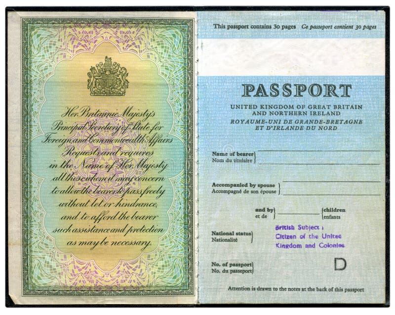 Pasaporte británico viejo foto de archivo