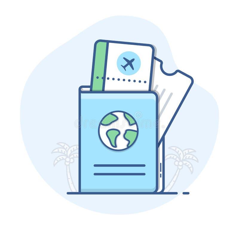 Pasaporte con la línea de boletos del vuelo icono Documento de viaje con el ejemplo del esquema del documento de embarque libre illustration