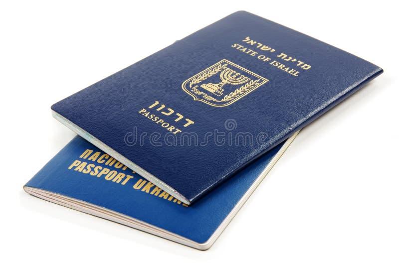 Pasaporte de Israel y de Ucrania imagen de archivo libre de regalías