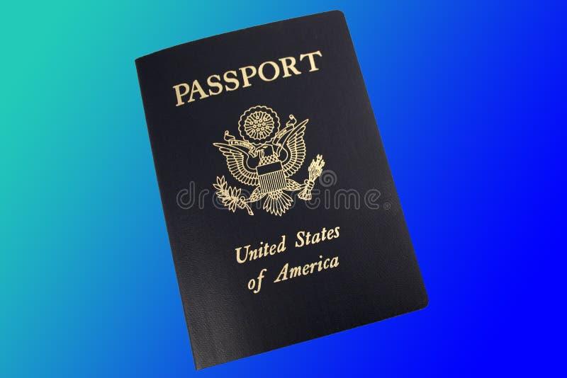 Pasaporte de los E.E.U.U. en fondo azul imágenes de archivo libres de regalías
