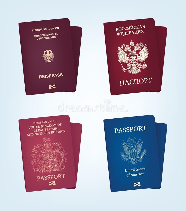 Pasaporte de los Estados Unidos de América, de Alemania, de Rusia y del reino Unite ilustración del vector