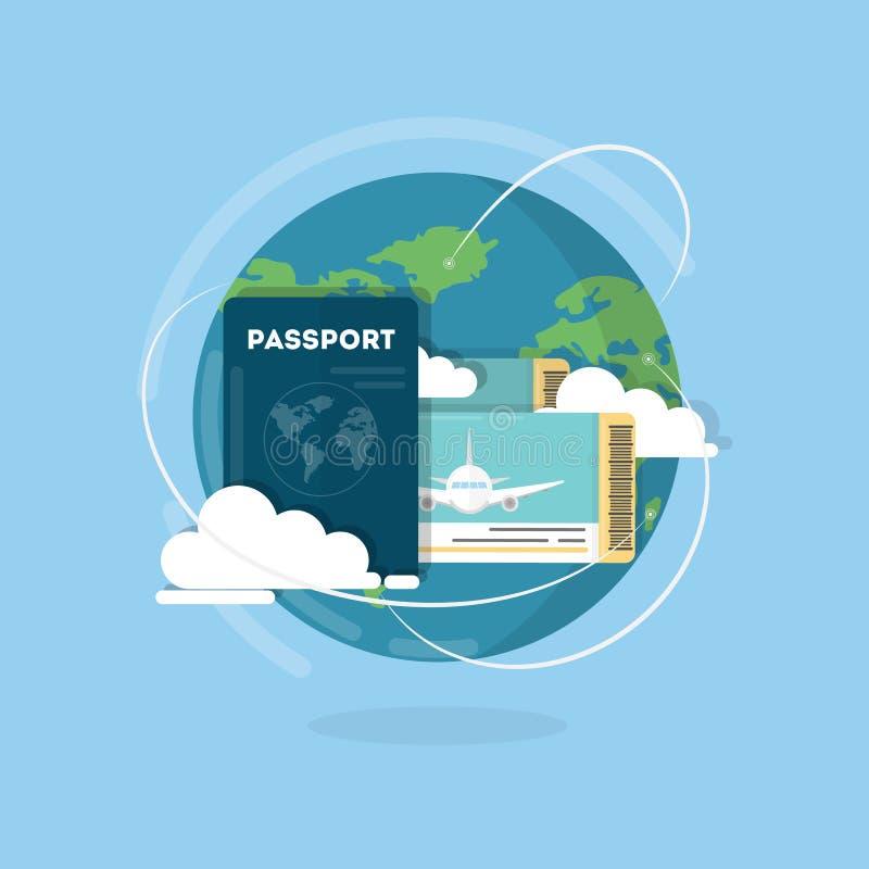 Pasaporte del vector con los boletos Concepto del transporte aéreo Identificación para el viajero libre illustration