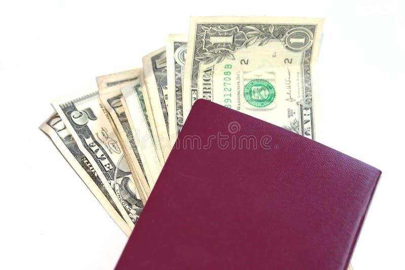 Pasaporte europeo con los dólares fotos de archivo libres de regalías