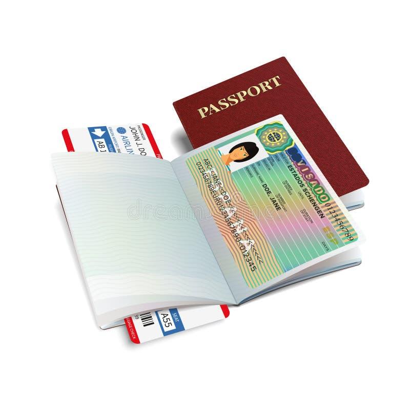 Pasaporte internacional del vector con la etiqueta engomada de la visa de España stock de ilustración